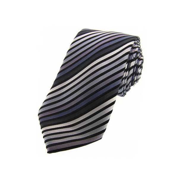 Shades of Grey Striped Silk Tie