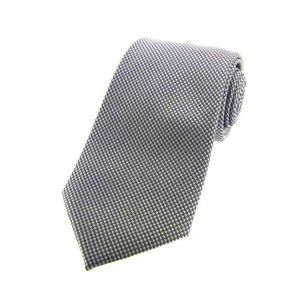 Grey Textured Woven Silk Tie
