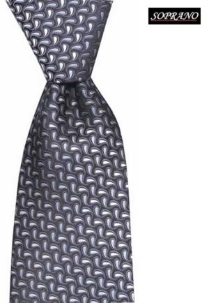 Silver Black Teardrop Woven Tie