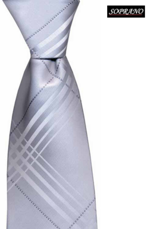 Silver Large Cross Check Tie