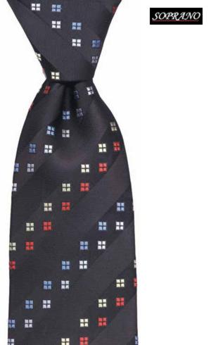 Diagonal Window Black Silk Tie