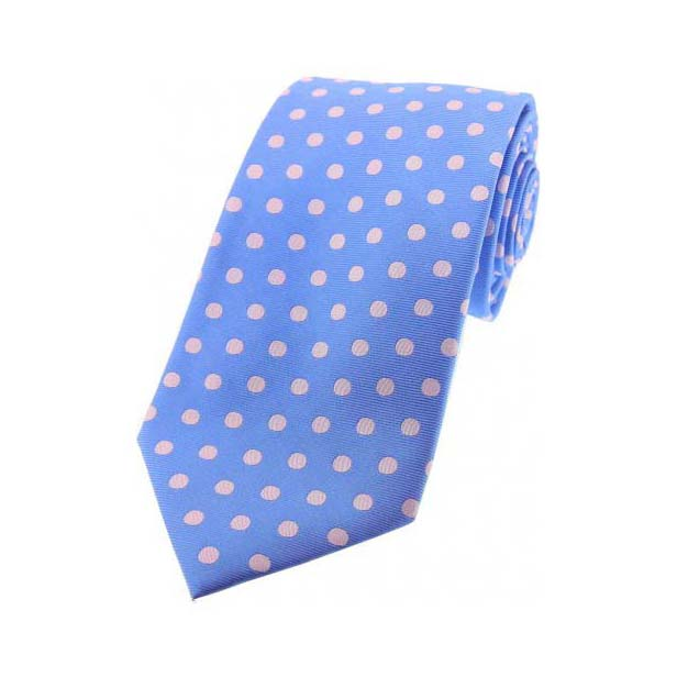 Sky Blue and Pink Polka Dot Silk Tie