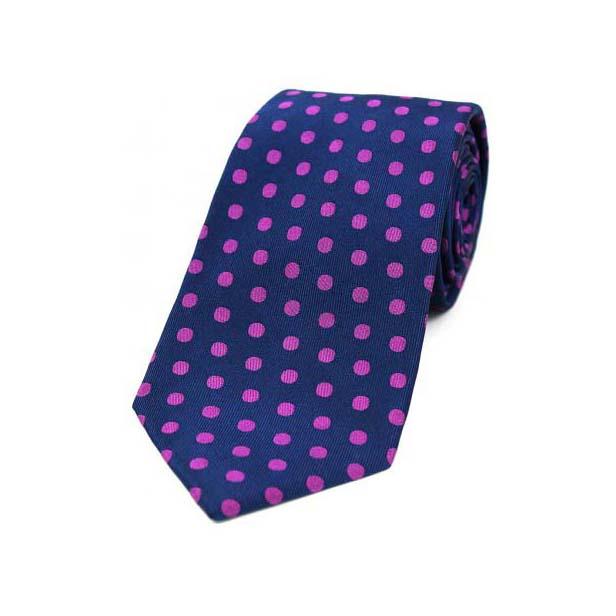 Navy and Pink Polka Dot Silk Tie