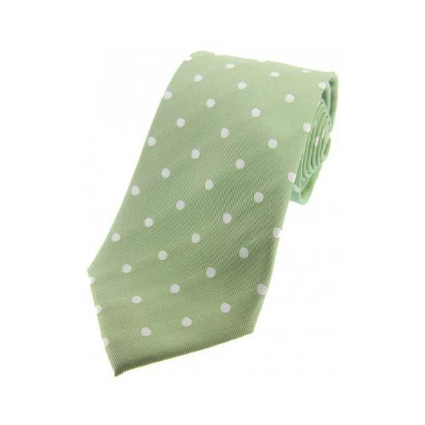 Lime Green and Cream Polka Dot Silk Tie
