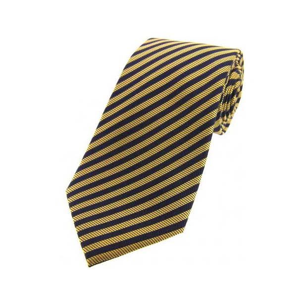 Gold and Navy Striped Silk Tie