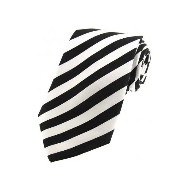 Black and White Silk Striped Tie