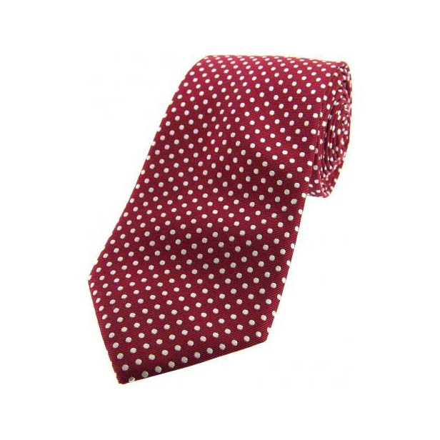 Wine and White Pin Dot Woven Silk Tie