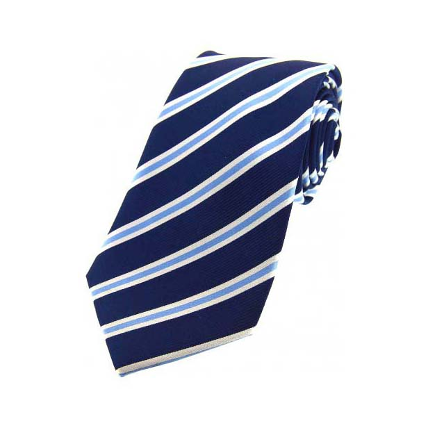 Navy, Sky and White Striped Silk Tie