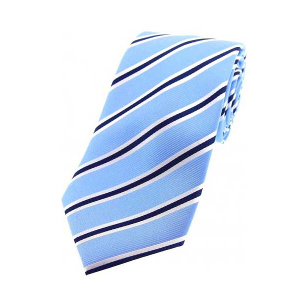 Sky Blue, Navy and White Striped Silk Tie