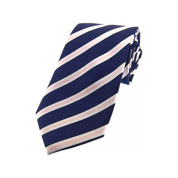 Navy, Pink and White Striped Silk Tie