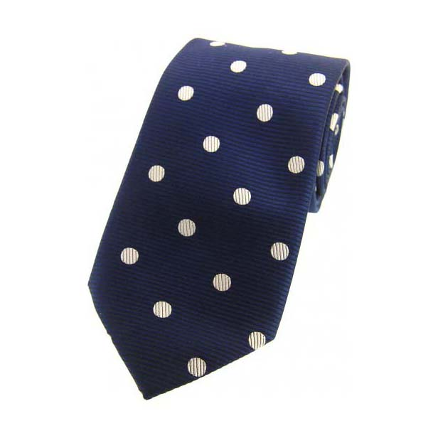 Navy and White Polka Dot Silk Tie