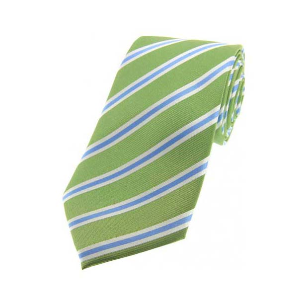 Lime Green, Sky Blue and Silver Striped Silk Tie