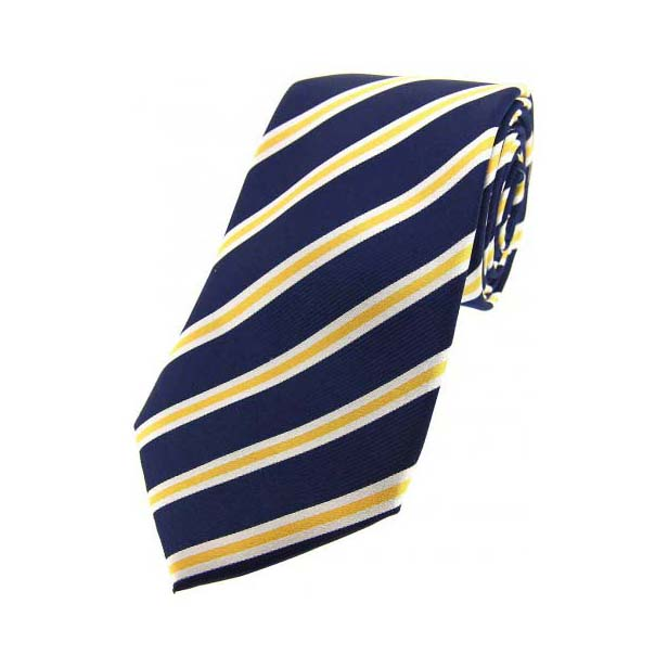 Navy, White and Gold Striped Silk Tie