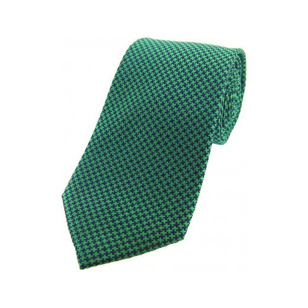 Emerald Green and Navy Dogtooth Print Silk Tie