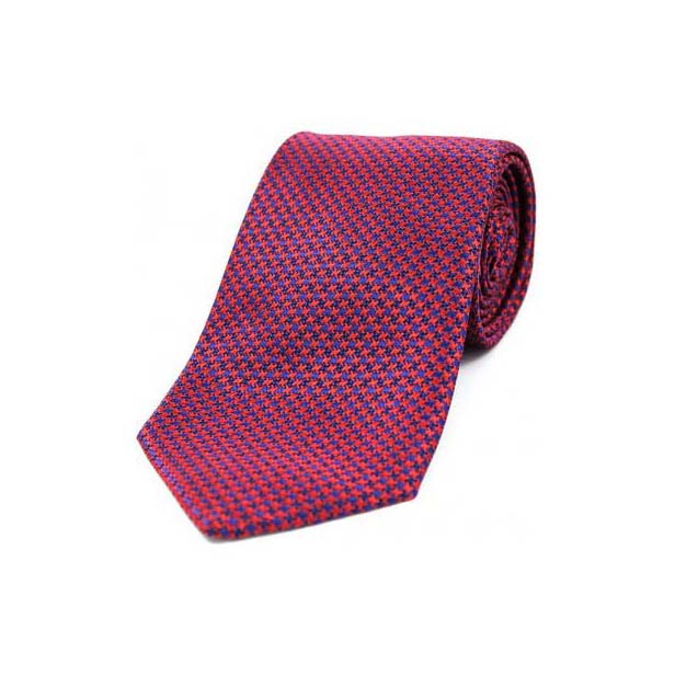 Red and Navy Dogtooth Print Silk Tie