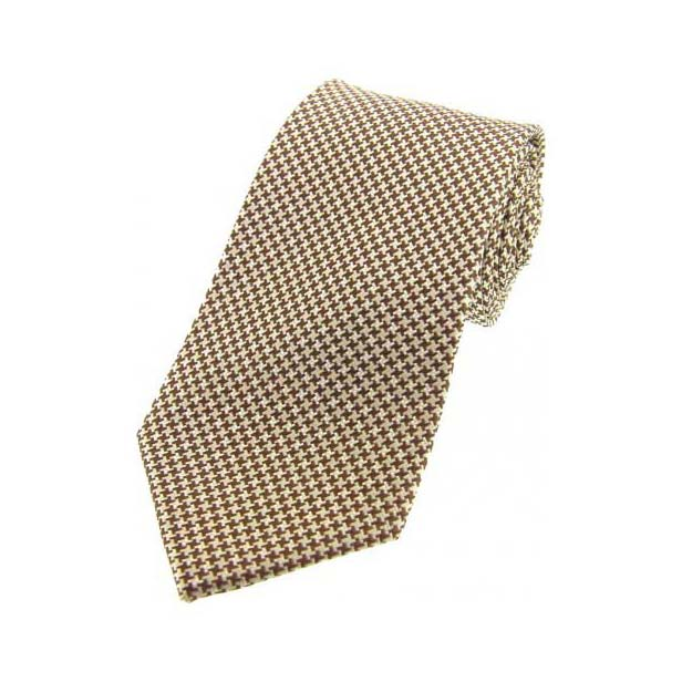 Camel and Cream Dogtooth Print Silk Tie