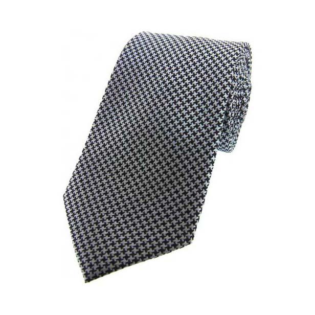 Grey and Black Dogtooth Print Silk Tie