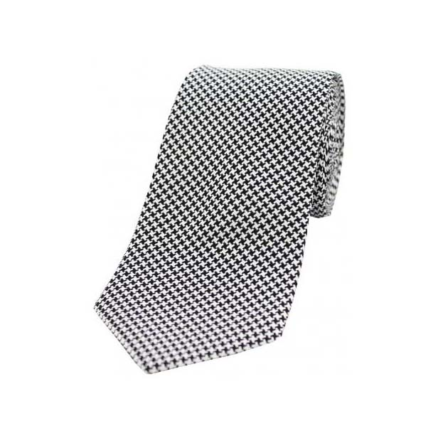 Black and White Dogtooth Print Silk Tie