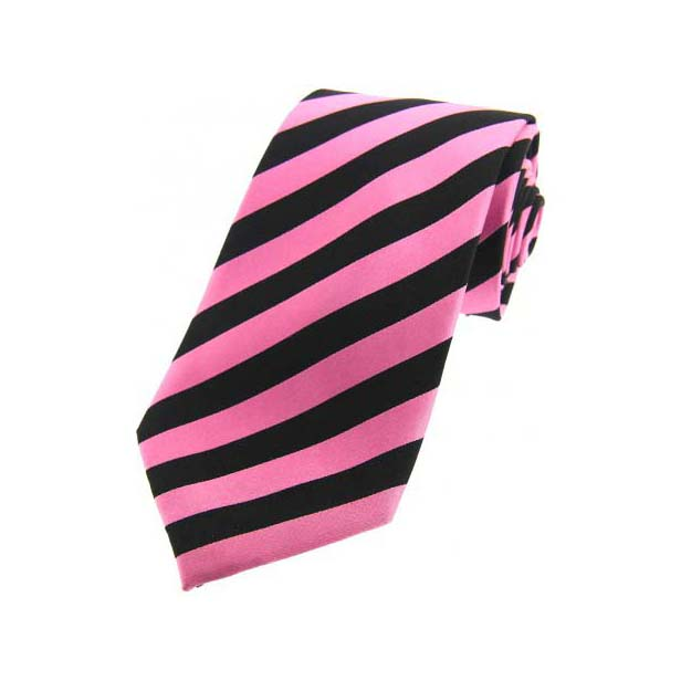 Pink and Black Striped Silk Tie