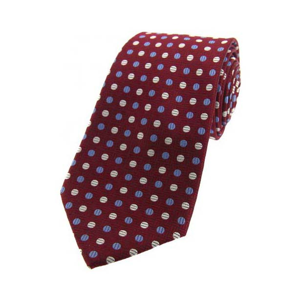 Blue and Cream Spots on Wine Silk Tie