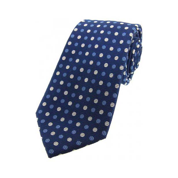 Blue and Silver Spots on a Navy Silk Tie