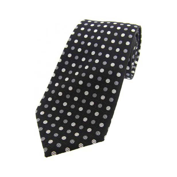Grey and White Spots on Black Silk Tie