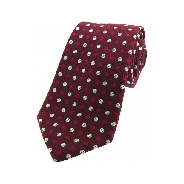 Wine and White Spots on Red Silk Tie