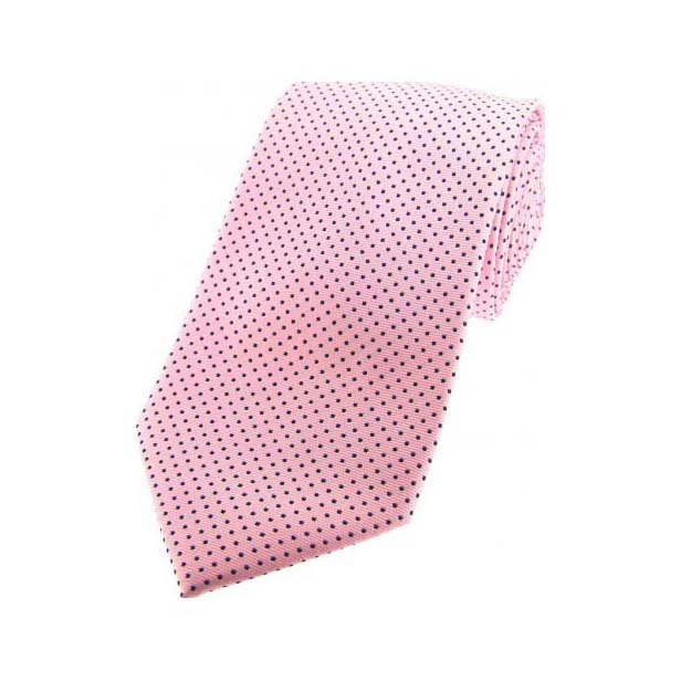 Pink and Black Pin Dot Woven Silk Tie