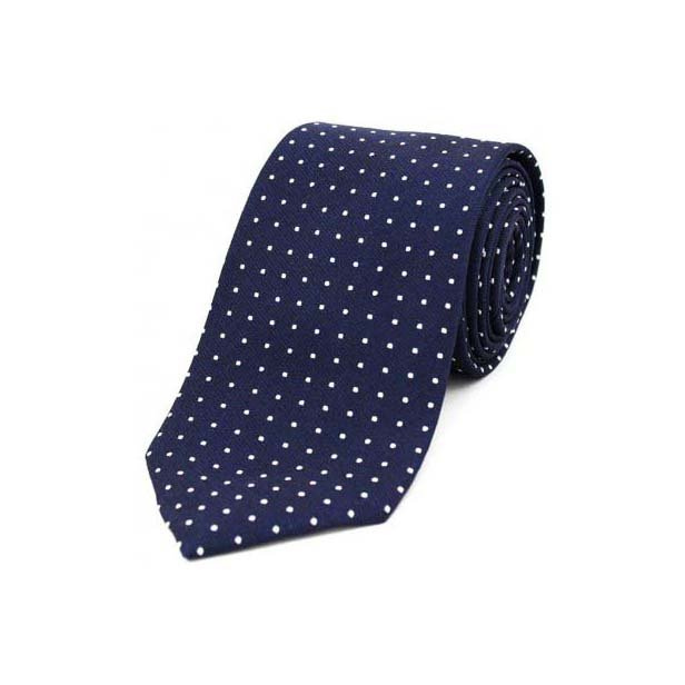 Navy and White Pin Dot Woven Silk Tie