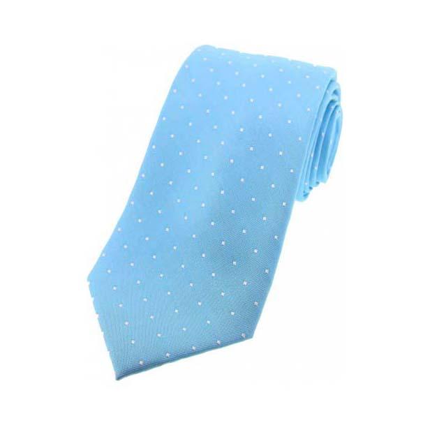 Sky Blue White Pin Dot Silk Tie