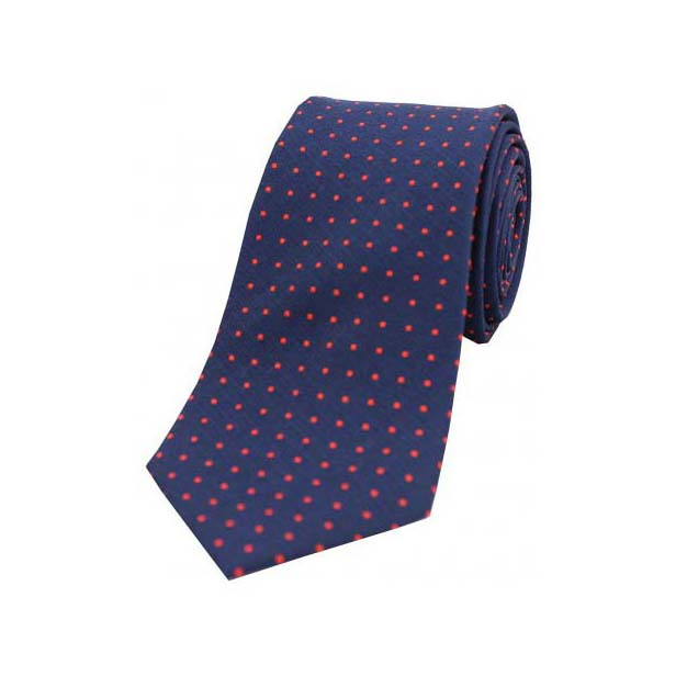 Navy and Red Pin Dot Silk Tie
