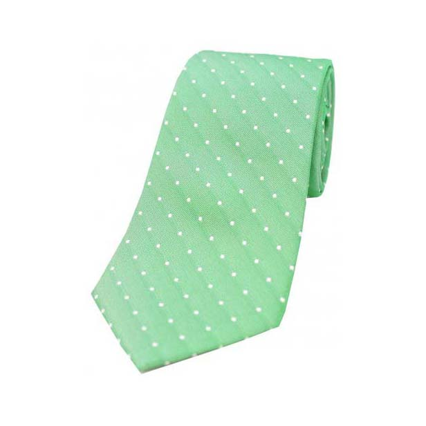 Emerald Green and White Pin Dot Silk Tie
