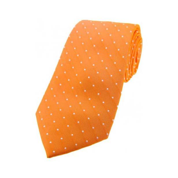 Orange and White Pin Dot Silk Tie