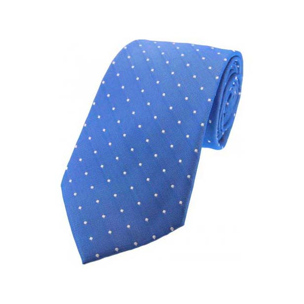 Denim Blue and White Pin Dot Silk Tie