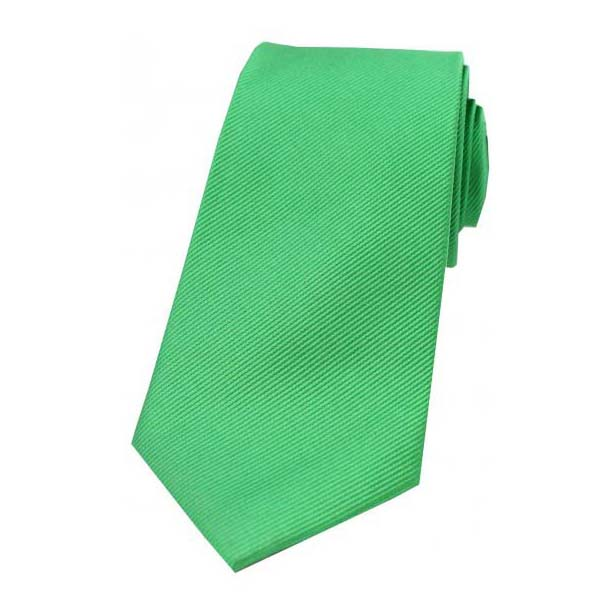 Emerald Green Diagonal Ribbed Silk Tie