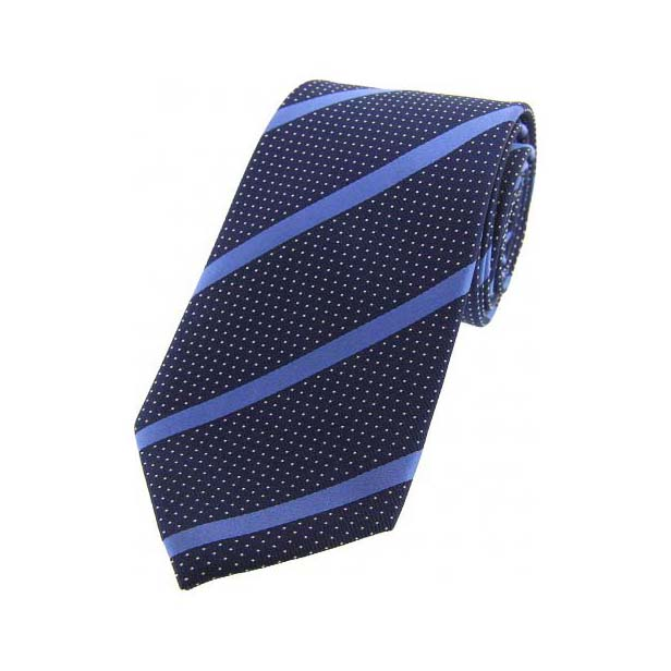 Navy and Royal Striped Silk Tie