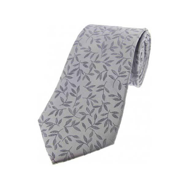 Silver with Jacquard Leaf Motif Silk Tie