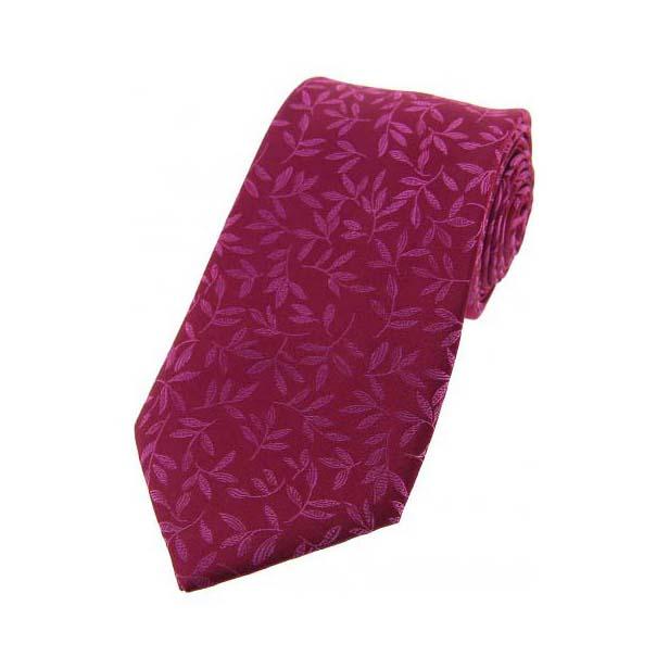 Plum with Jacquard Leaf Motif Silk Tie