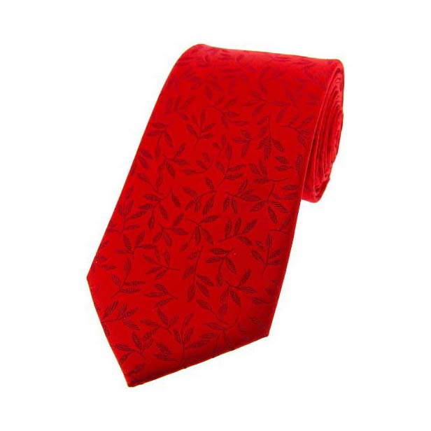 Red with Jacquard Leaf Motif Silk Tie