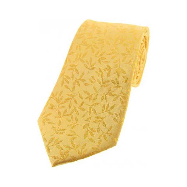 Gold with Jacquard Leaf Motif Silk Tie