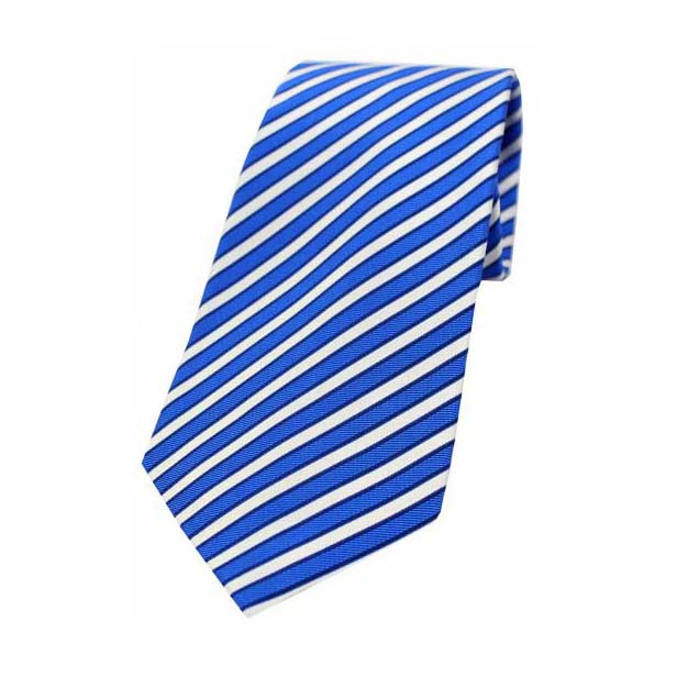 Royal and White Striped Woven Silk Tie