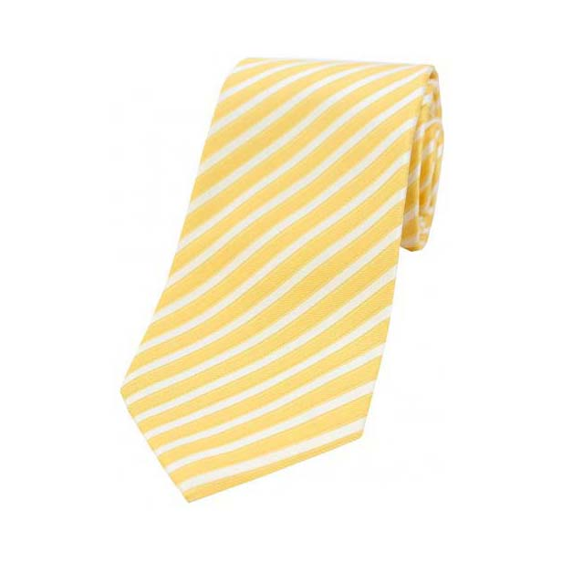 Gold and White Striped Luxury Silk Tie