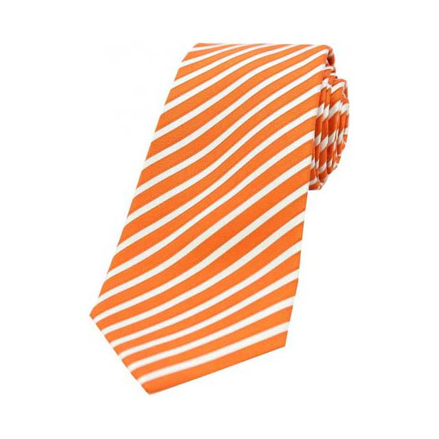 Orange and White Stripe Men's Silk Tie