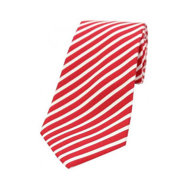 White and Red Striped Silk Tie