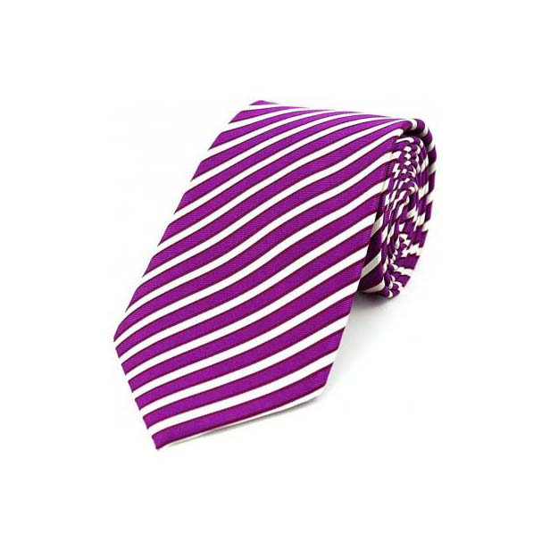 Purple and White Stripe Silk Tie