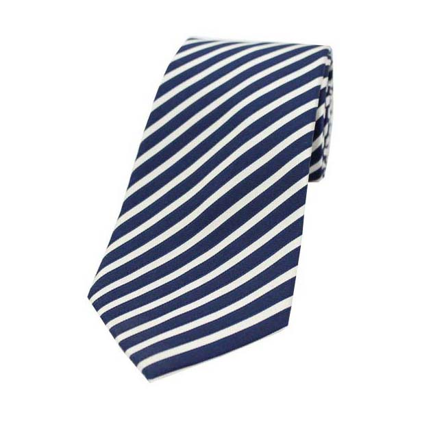 Navy and White Striped Silk Tie