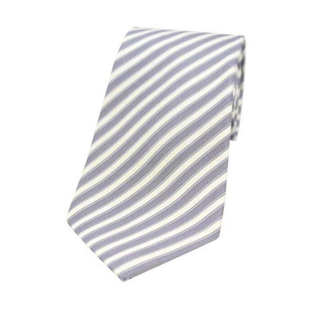 Grey and White Striped Silk Tie