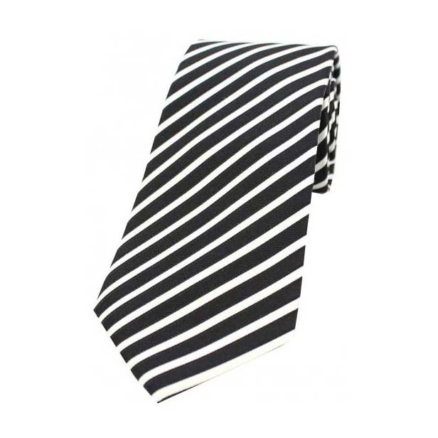 Black and White Narrow Stripes Silk Tie