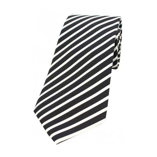 Black and White Narrow Stripes Silk Tie