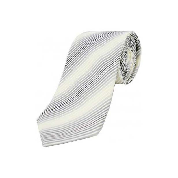 Shades of Grey with Beige and White Stripes Woven Silk Tie